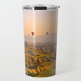 Hot Air Balloons Over Landscape Travel Mug