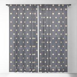 Navy Gold Polka Dots Pattern Sheer Curtain