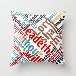 Christian Psalm 23 Colorful Word Art Throw Pillow