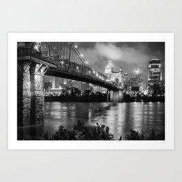 Cincinnati Skyline - John Roebling Bridge and Ohio River Art Print