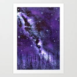 """Purple & Payne's Grey Milky Way Galaxy"" watercolor landscape painting Art Print"