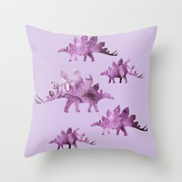 Stegosaur Purple Throw Pillow