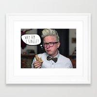 tyler oakley Framed Art Prints featuring Tyler Oakley, Why Am I Single? by Jasmine Shull