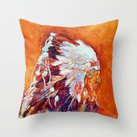 native american Throw Pillows featuring Native American by LiliyaChernaya