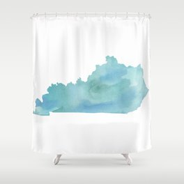 Watercolor State Map - Kentucky KY blue greens Shower Curtain