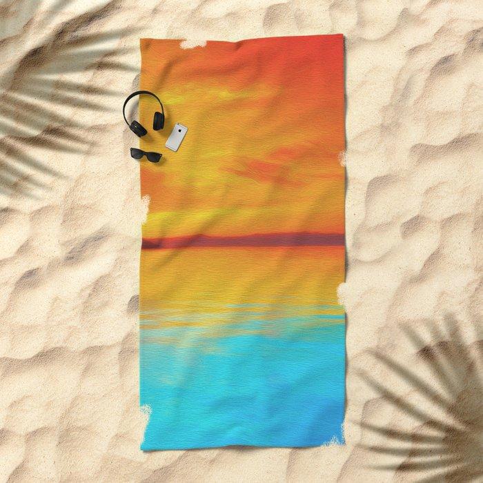 sunset beachh Beach Towel