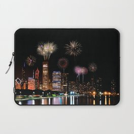 Chicago night skyline with fireworks. Laptop Sleeve