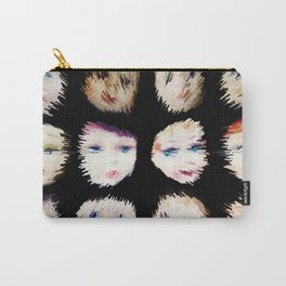 199 - Fast Faces abstract design black Carry-All Pouch