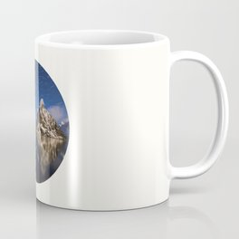 Mid Century Modern Round Circle Photo Graphic Design Swirling Star Sky Above Mountains Coffee Mug