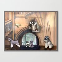 schnauzer Canvas Prints featuring Schnauzer by Michelle Behar