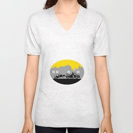 Tow Truck Towing Car Buildings Oval Woodcut Unisex V-Neck