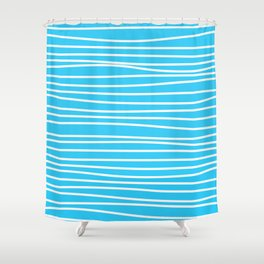 Simply small aqua and white handrawn stripes - horizontal - for your summer Shower Curtain