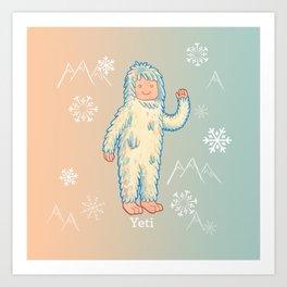 Yeti - Cute Cryptid Art Print