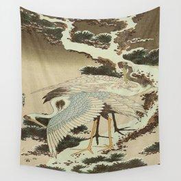 hokusai – two crane on a pine -bird,beak,plum,nature Wall Tapestry
