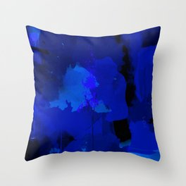 Night blue strokes Dark blue and black abstract painting B01YK Throw Pillow