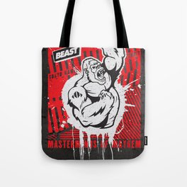 Mayhem Ape (Black on Red) Tote Bag