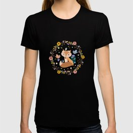 Little Princess Fox With Friends And Foliage T-shirt