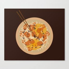 Food Illustration: Rice with beef and curry with soysauce Canvas Print