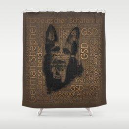 Working German Shepherd Dog  - GSD Word Pattern Shower Curtain