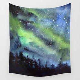 Galaxy Nebula Watercolor Northern Lights Aurora Borealis Wall Tapestry