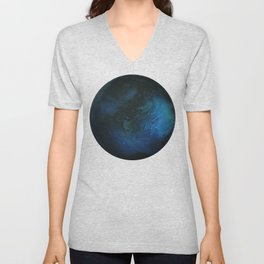 Blue Planet on White Background Unisex V-Neck