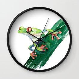 Frog. Watercolor illustration. Hand drawing Wall Clock