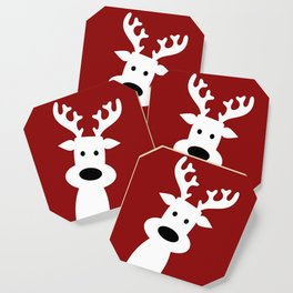 Reindeer on red background Coaster