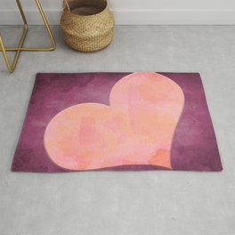 Pantone Conch Shell Pink 15-1624 Heart in Corner Purple Watercolor Abstract Art Rug