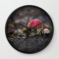 mushroom Wall Clocks featuring mushroom by Kalbsroulade