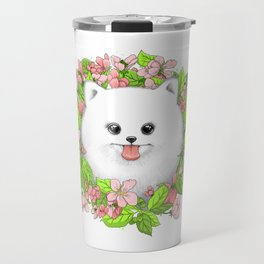 Pomeranian in flowers Travel Mug