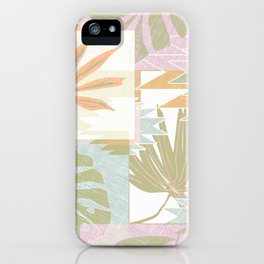 Tropical leaves and geometric shapes. iPhone Case