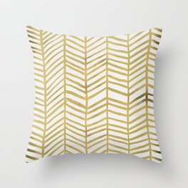 Gold Herringbone Throw Pillow