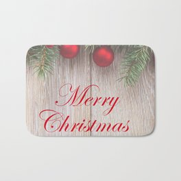 Merry Christmas Garland, Berries & Ornaments on Weathered Wood Bath Mat
