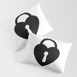 Locked Heart - black Pillow Sham