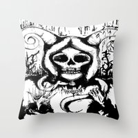 grim fandango Throw Pillows featuring Grim by Emalee Røse