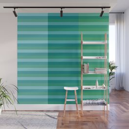 Tanager Turquoise, Teal Blue and Kelly Green Line Pattern Wall Mural