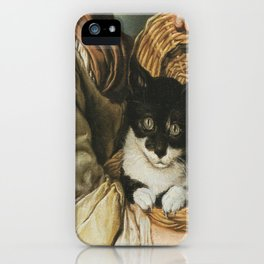 Ceruti– Portrait of girl with a cat in a basket iPhone Case