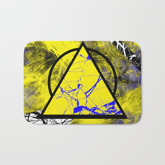 Night And Day - Blue And Yellow, Black And White, Abstract, Geometric, Marble Artwork Bath Mat