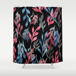 180726 Abstract Leaves Botanical Dark Mode 2 |Botanical Illustrations Shower Curtain