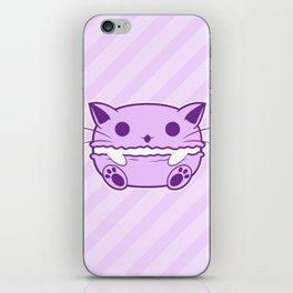 Purple Kawaii Cat Macaroon iPhone Skin
