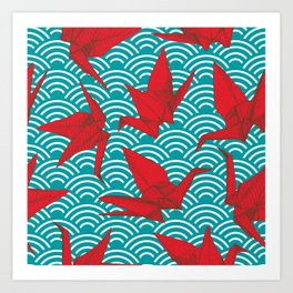 Origami red paper cranes sketch. burgundy maroon line Nature oriental Art Print