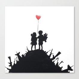 Banksy Two Children With Love Balloon At War Destruction Garbage, Streetart Street Art, Grafitti, Ar Canvas Print