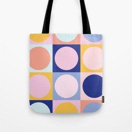 Colorful Circles in Squares Tote Bag