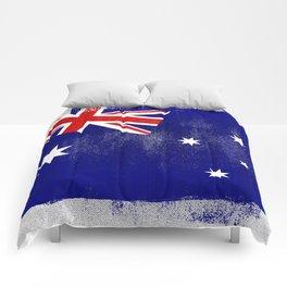 Australian Distressed Halftone Denim Flag Comforters