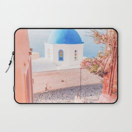 Santorini Greece Mamma Mia pink travel photography in hd. Laptop Sleeve