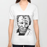 bukowski V-neck T-shirts featuring Bukowski without lettering by Michael Christopher Smith Art
