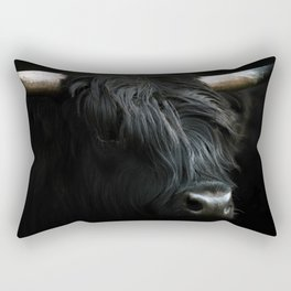 Minimalist Black Scottish Highland Cattle Portrait - Animal Photography Rectangular Pillow