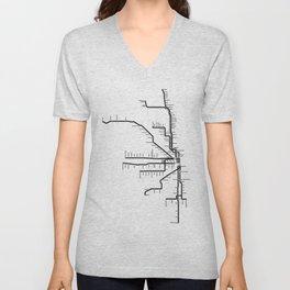 Chicago CTA Map, Chicago Map Art, CTA Art, Chicago Wall Art, Chicago Art, L Train, Art Print Unisex V-Neck