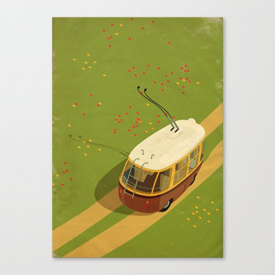 Trolley Rides The Field Canvas Print
