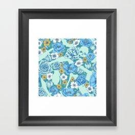 Weapon Floral-Blue Framed Art Print